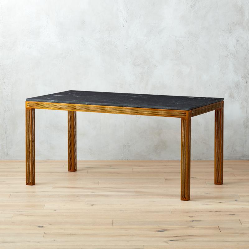 perforated marble desk bedroom furniture cb2 peg