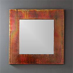 "24"" petra antiqued square wall mirror"