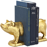 gold pig bookends set of two