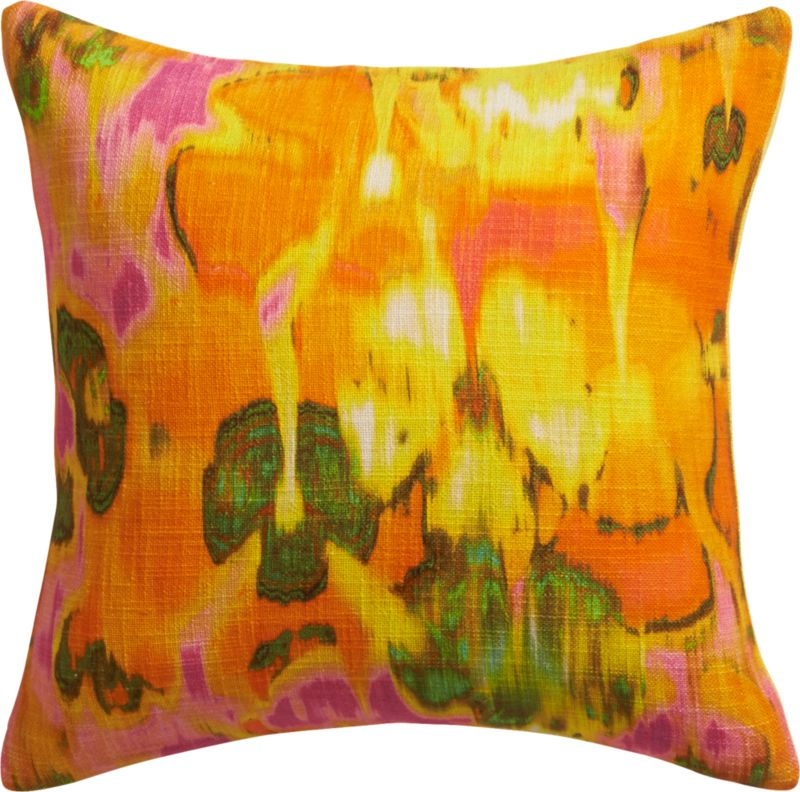 "pigments orange 16"" pillow with feather insert"