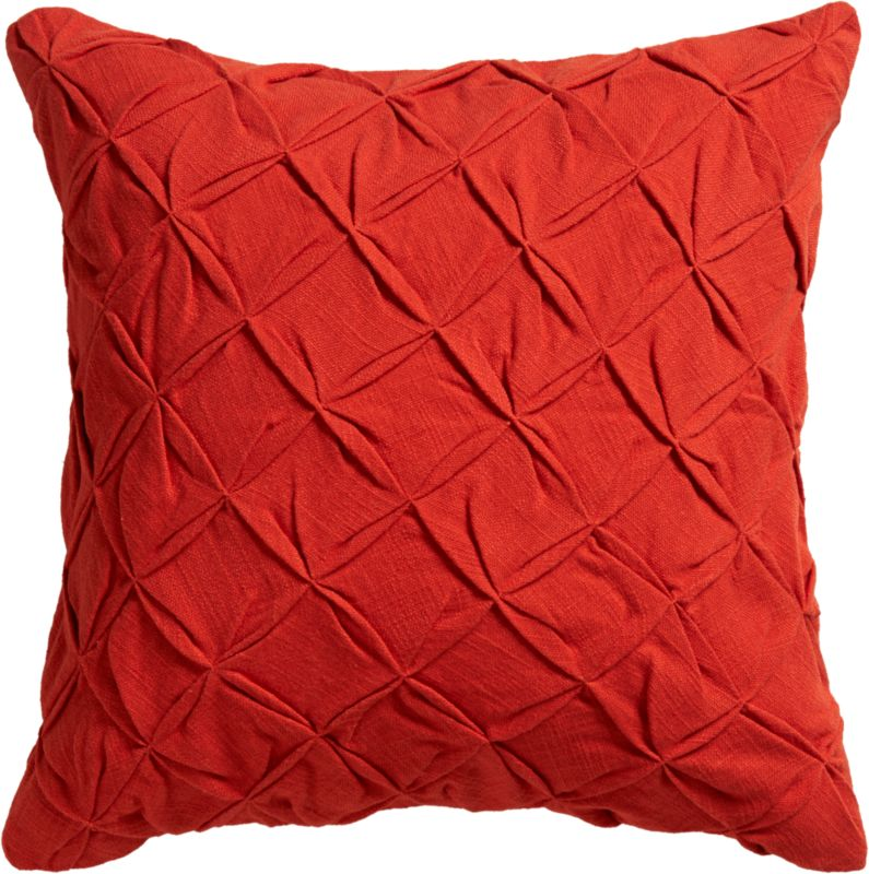 """pintuck red-orange 18"""" pillow with down-alternative insert"""