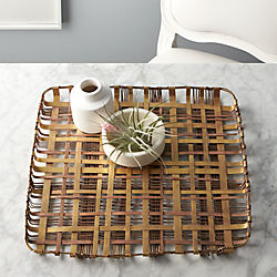 plaid metal tray