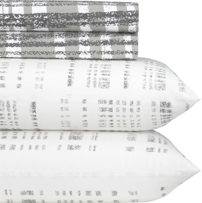 queen organic plaid percale sheet set