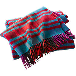 lambswool multicolor plaid throw