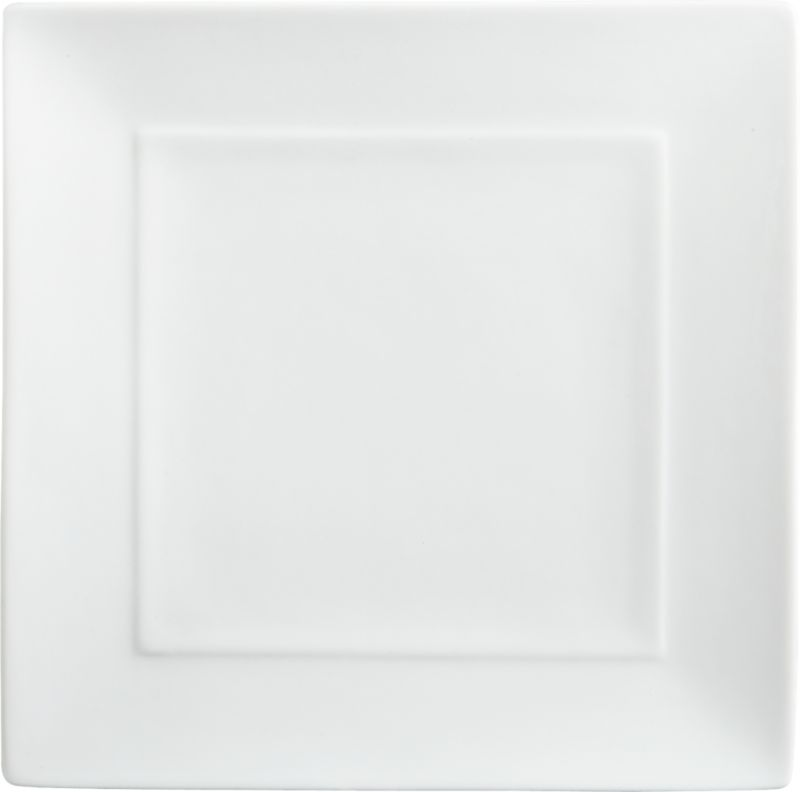 "<span class=""copyHeader"">flare and square.</span> Slick white handmade porcelain square flares with mitered edges. Inner rim rises subtly to frame creative presentations.<br /><br /><NEWTAG/><ul><li>Handmade porcelain dipped in white glaze</li><li>Dishwasher-, microwave- and oven-safe</li></ul>"