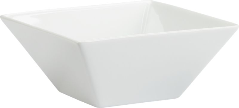 """<span class=""""copyHeader"""">flare and square.</span> Slick white handmade porcelain flares with mitered edges. Serves up soup to salad.<br /><br /><NEWTAG/><ul><li>Handmade porcelain dipped in white glaze</li><li>Dishwasher-, microwave- and oven-safe</li></ul>"""