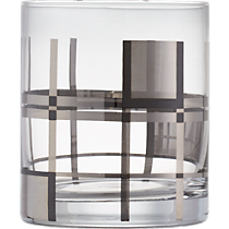 platinum plaid double old-fashioned glass