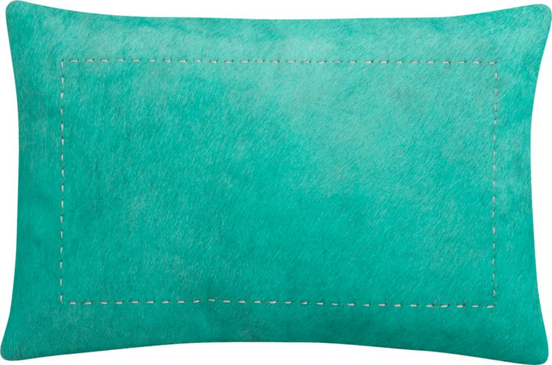 "pony up aqua 18""x12"" pillow with down-alternative insert"