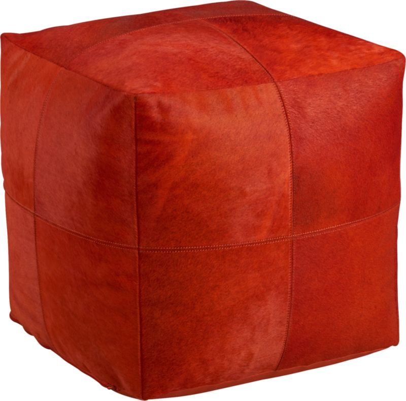 pony up red-orange pouf