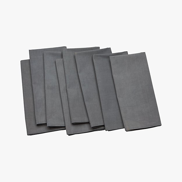set of 8 poplin grey napkins