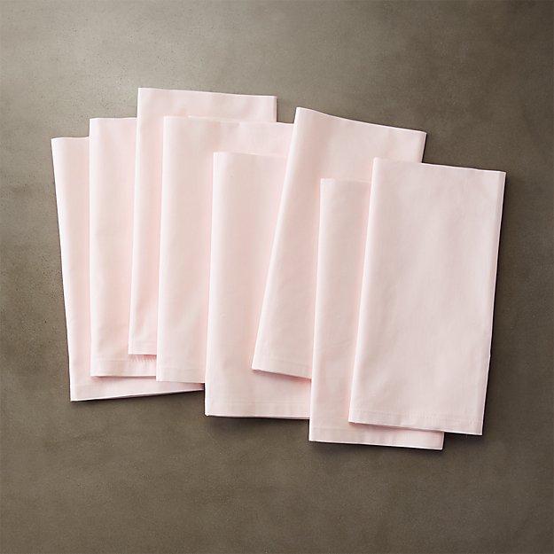 set of 8 poplin pink napkins