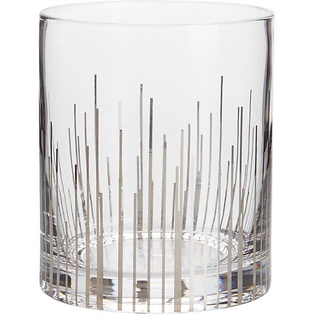 precision silver double old-fashioned glass