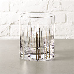 precision silver double old-fashioned glass