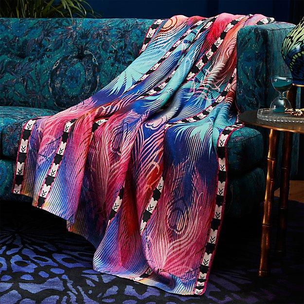 peacock linen throw