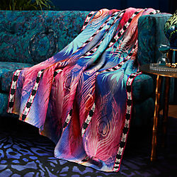 peacock linen throw
