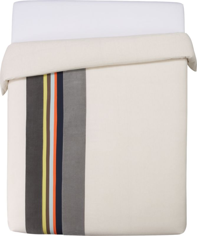 """<span class=""""copyHeader"""">band together.</span> Laid-back luxe falls in line with textured bands of rich, warm neutrals. Velvet bands of dark and light grey border cotton stripes of yellow, brown, mint, orange and navy. Vertical multicolor graphic punctuates natural field of 200-thread-count cotton/linen in off-center asymmetric sweep. Duvet has nonslip corner ties and hidden button closure. Reverses to solid natural.<br /><br /><NEWTAG/><ul><li>Cotton/linen blend in natural</li><li>200 thread count</li><li>Duvet has nonslip corner ties and hidden button closures</li><li>Reverses to solid natural</li><li>Machine wash</li></ul>"""