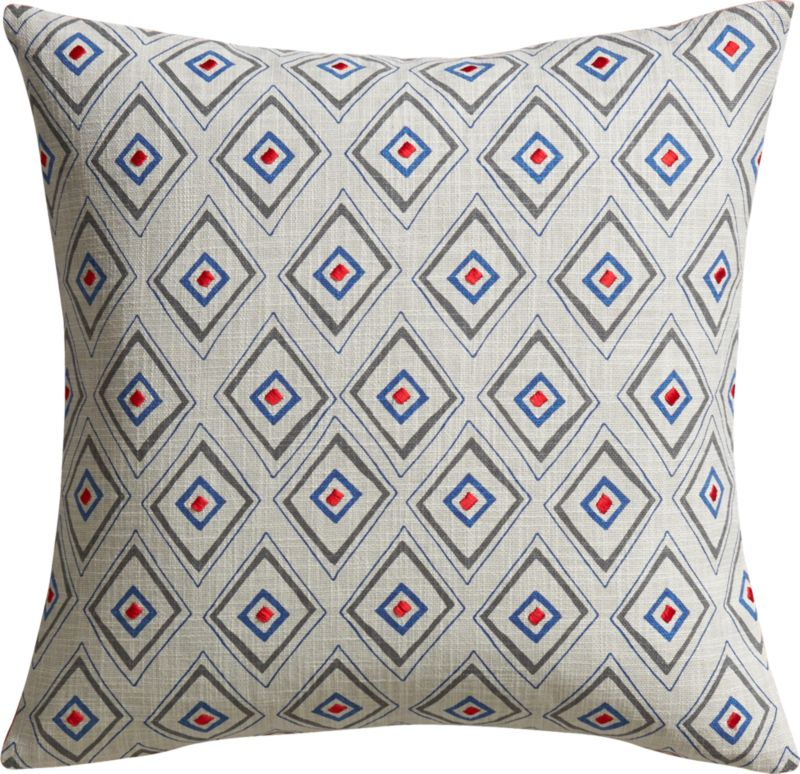 """redeye embroidered 18"""" pillow with down-alternative insert"""