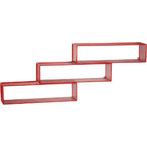 repeating red wall shelf