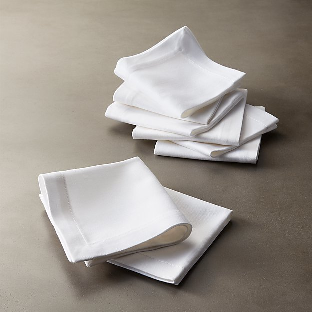 set of 8 restaurant white cocktail napkins