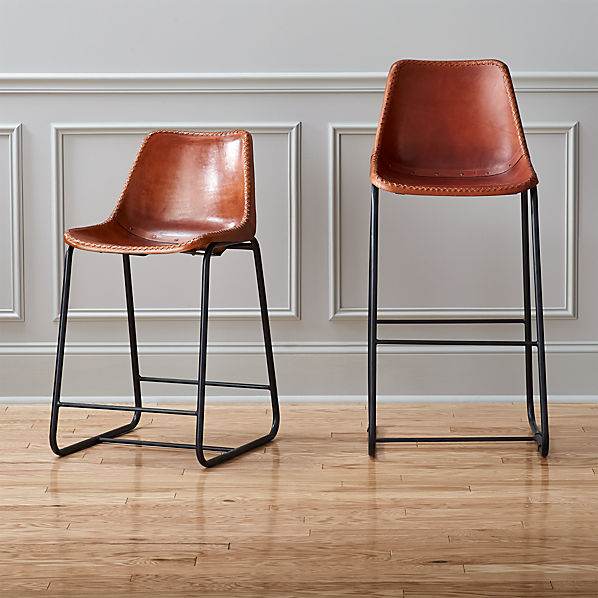 Counter Height Leather Bar Stools : roadhouse leather bar stools CB2