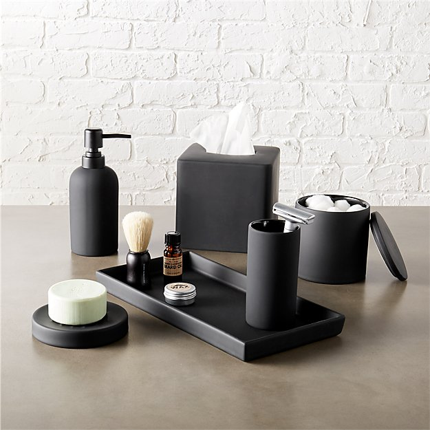 Rubber coated black bath accessories cb2 for Black glass bathroom accessories