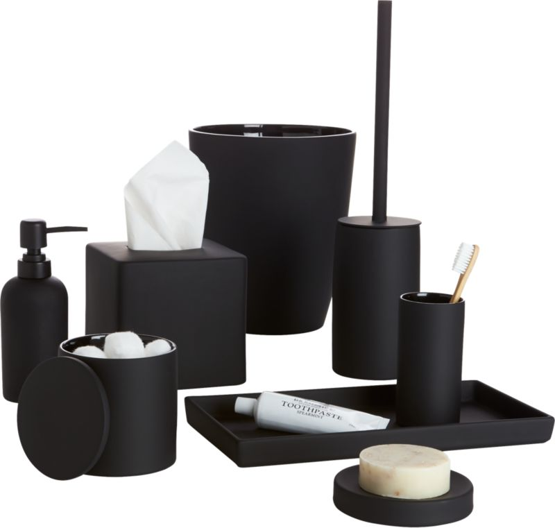 Rubber coated black bath accessories cb2 for Black white bathroom set