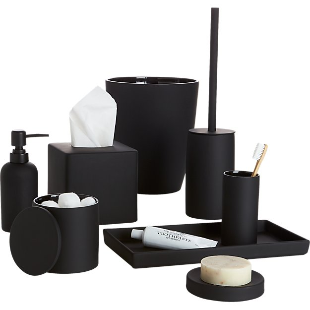 Rubber coated black bath accessories cb2 for Black and white bathroom sets