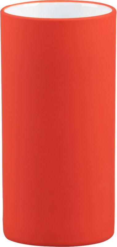 """<span class=""""copyHeader"""">touch of pop.</span> Tactile stoneware cylinder pops bold in smooth-to-the-touch rubber. Stows razors and toothbrushes sinkside. Also fun in the office for pens and pencils.<br /><br /><NEWTAG/><ul><li>Stoneware with orange rubber coating</li><li>Wipe with damp cloth</li><li>Not foodsafe</li></ul>"""