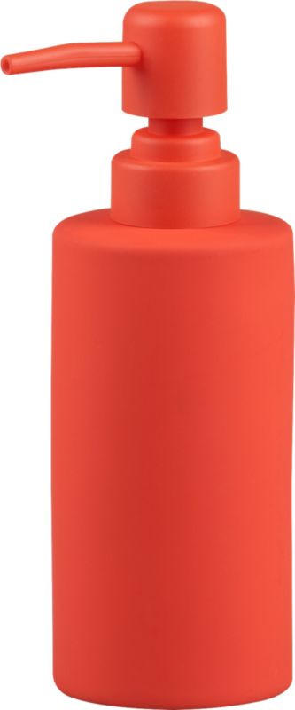 "<span class=""copyHeader"">touch of pop.</span> Bold take on sinkside staple dispenses a pop of fun. Tactile orange rubber is smooth to the touch on stoneware pump.<br /><br /><NEWTAG/><ul><li>Stoneware with orange rubber coating</li><li>Wipe with damp cloth</li></ul><br />"