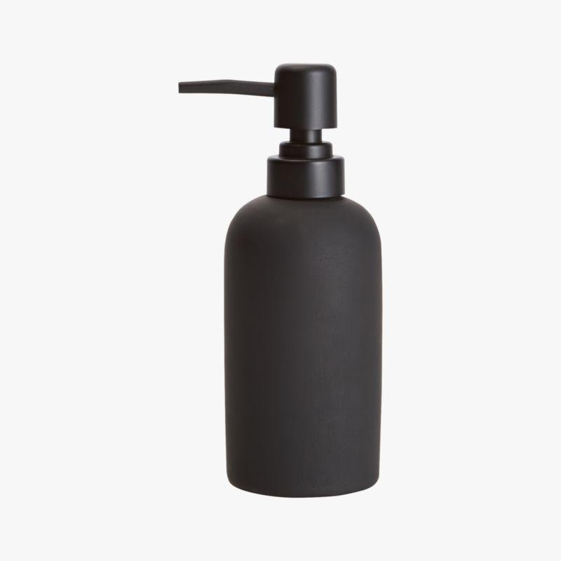 "<span class=""copyHeader"">dark side of clean.</span> Noir take on a sinkside staple dispenses modern drama. Black rubber is smooth to the touch on ceramic pump.<br /><br /><NEWTAG/><ul><li>Stoneware with black rubber coating</li><li>Wipe with damp cloth</li></ul>"