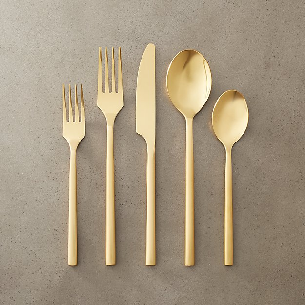 20 Piece Rush Gold Flatware Set Cb2