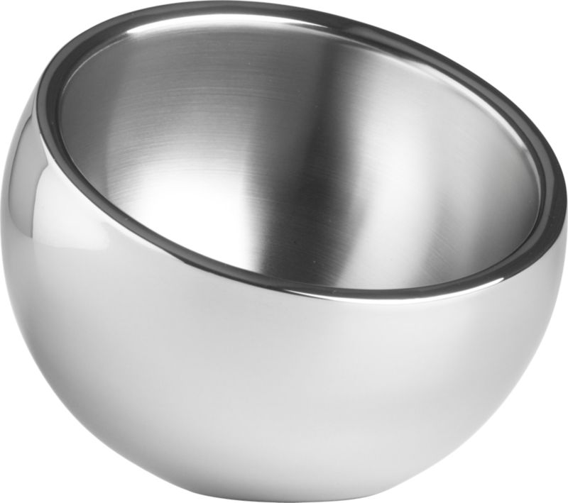 "<span class=""copyHeader"">inclined to entertain.</span> An inviting tilt offers nibbles or dips from a cool stainless steel cocoon. Brushed interior, polished exterior.<br /><br />Head to <a rel=""external""href=""http://cb2.com/blog/cheese-platter-ideas/"">Idea Central</a> for tips on serving the ultimate cheese platter.<br /><br /><NEWTAG/><ul><li>Stainless steel</li><li>Use for snacks, dips or condiments</li><li>Hand wash</li></ul>"