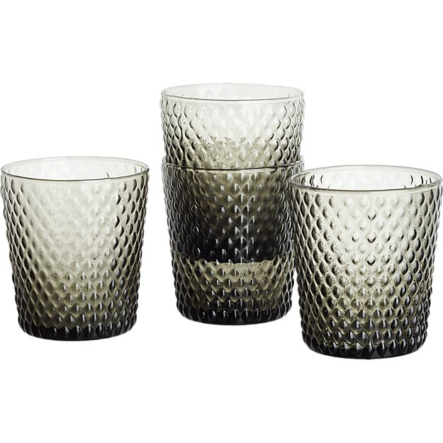 set of 4 scale smoke double old-fashioned glasses