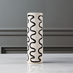 scribble black and white vase