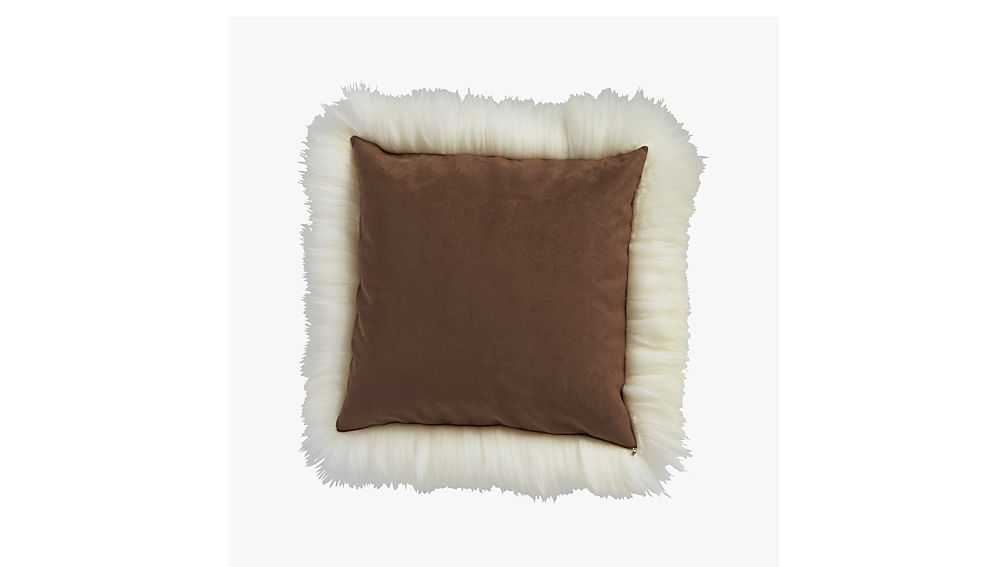 """icelandic sheepskin 24"""" pillow-cushion with feather-down insert"""