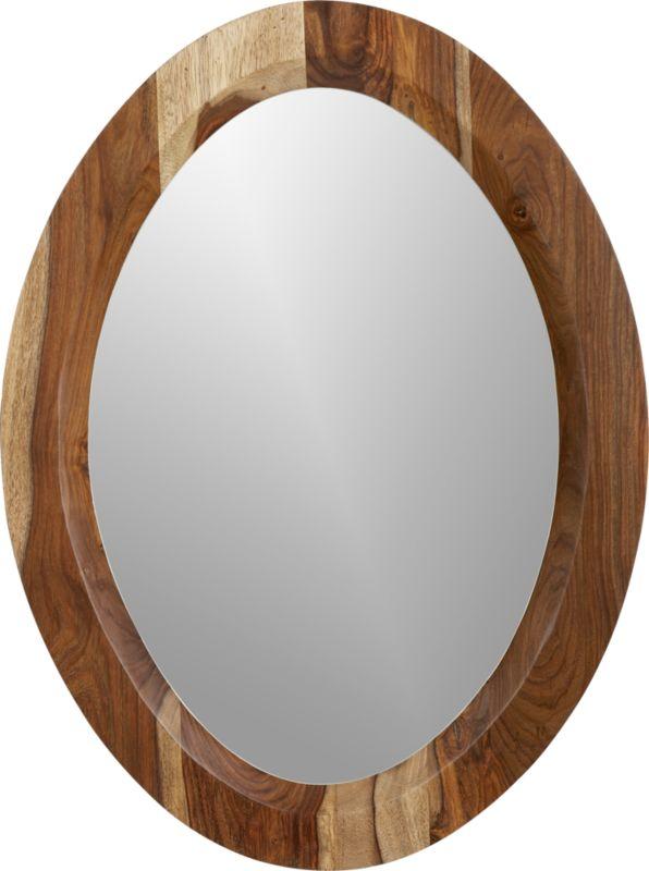 shesham oval mirror with white rim