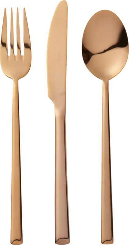 12-piece shiny copper flatware set