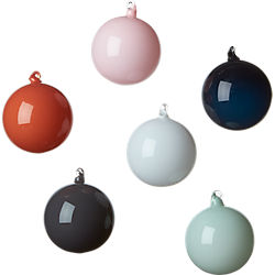 shiny opaque ornaments set of six
