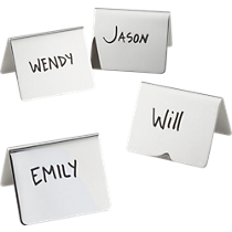 shiny stainless steel place card holders set of four