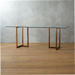 "silverado brass 80"" rectangular dining table"