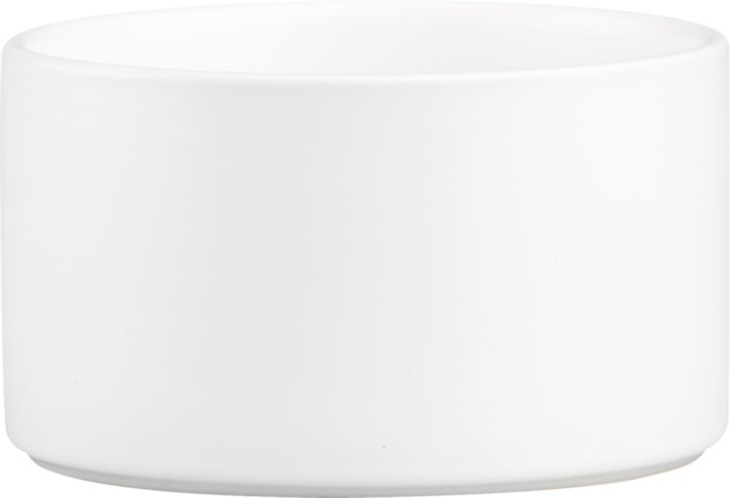 "<span class=""copyHeader"">deep impact.</span> Simplicity and utility dig deep in matte white stoneware. Rising high on the sides, bowl dishes up soup, cereal and snacks with straight-up minimalism.<br /><br /><NEWTAG/><ul><li>Stoneware</li><li>Matte white glaze interior and exterior</li><li>Dishwasher-, microwave- and oven-safe (up to 350-degrees)</li></ul>"