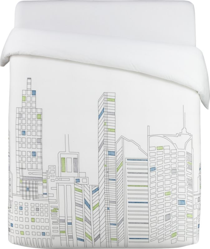 skyline full/queen duvet cover