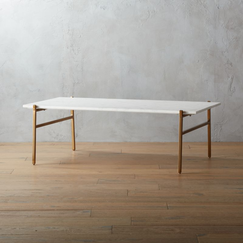 Slab Marble Coffee Table With Brass Base Cb2