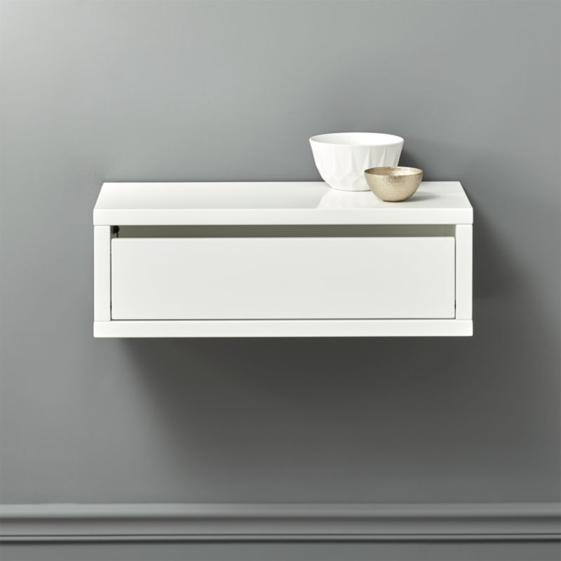 Slice White Wall Mounted Storage Shelf Cb2