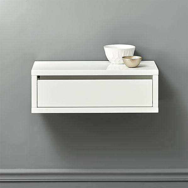 Slice White Wall Mounted Storage Shelf Cb2