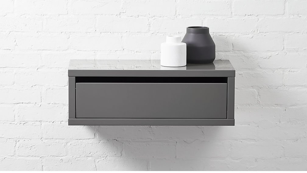 slice grey wall mounted storage shelf cb2. Black Bedroom Furniture Sets. Home Design Ideas