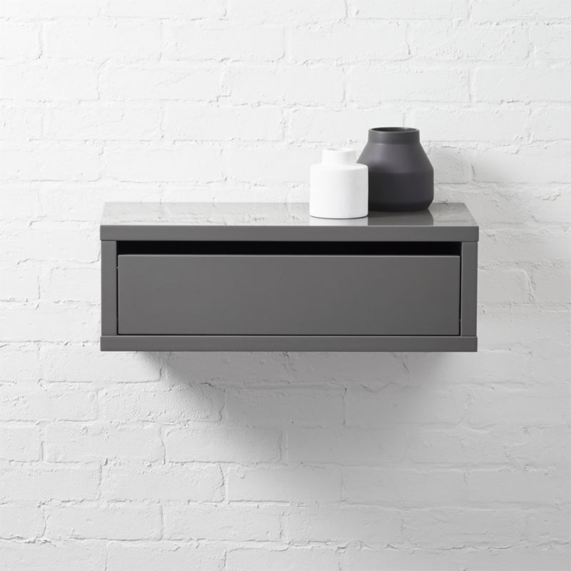 Slice Grey Wall Mounted Storage Shelf Cb2
