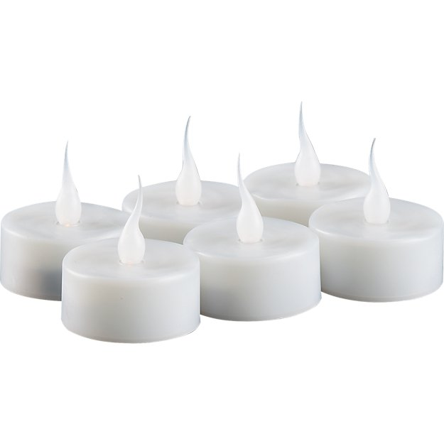 set of 6 LED tea light candles