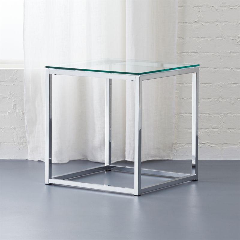 Smart Glass Top Side Table Cb2