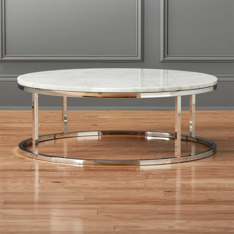smart round marble top coffee table cb2. Black Bedroom Furniture Sets. Home Design Ideas